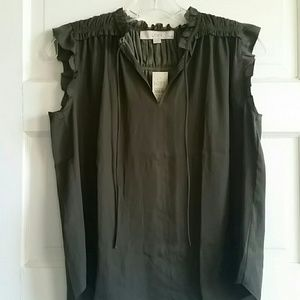 LOFT olive silky feminine blouse